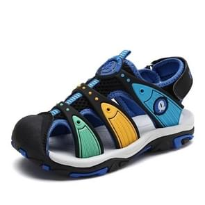 Fashion Soft and Comfortable Breathable Sandals Beach Shoes for Children (Color:Black Blue Size:34)