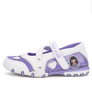 Stylish Soft Comfortable Breathable Princess Shoes Children Sandals (Color:Purple Size:25)