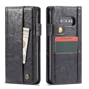 CaseMe Rough Crack Texture Horizontal Flip PU Leather Case for Galaxy S10e, with Card Slots & Wallet (Black)