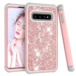 Glitter Contrast Color Silicone + PC Shockproof Case for Galaxy S10(Rose Gold+Grey)