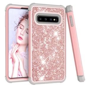 Glitter contrast kleur silicone + PC schokbestendige geval voor Galaxy S10 (Rose goud + grijs)