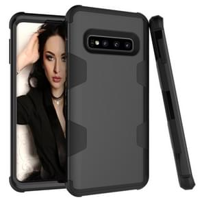 Contrast Color Silicone + PC Shockproof Case for Galaxy S10 (Black)