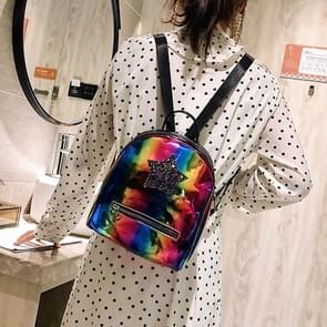 Star Glitter Laser Color PU Leather Double Shoulders Bag Ladies Handbag Backpack Bag (Multi-colored)