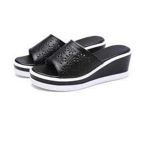 Eenvoudige non-slip casual wilde holle dikke onderkant slippers voor vrouwen (kleur: zwart grootte: 35)