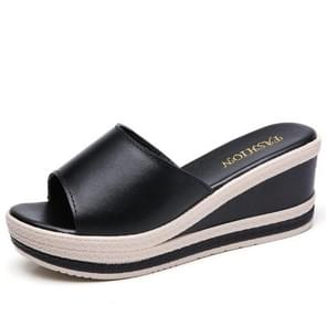 Thick Bottom Increased Casual Wild Sandals Slippers for Women (Color:Black Size:34)