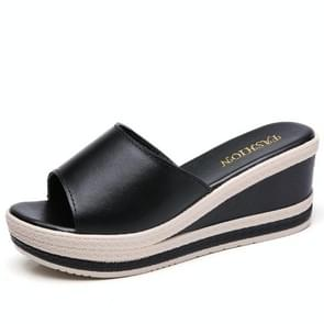 Dikke bodem verhoogde casual wilde sandalen slippers voor vrouwen (kleur: zwart grootte: 37)