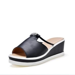 Mode wilde wig Flash Drill anti-slip slijtvaste sandalen slippers voor vrouwen (kleur: zwart grootte: 38)