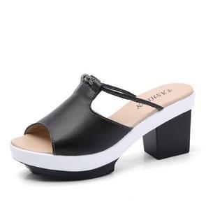Mode Flash Drill dikke onderkant dikke hak Slippers sandalen voor vrouwen (kleur: zwart grootte: 36)