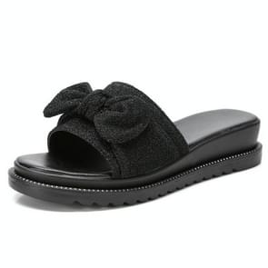 Bowknot Bright Cloth Fashion Non-slip Wear Resistant Sandals for Women (Color:Black Size:35)