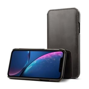 Oil Wax Top-grain Cowhide Horizontal Flip Leather Case for iPhone XR, with Card Slots & Wallet (Black)