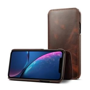 Oil Wax Top-grain Cowhide Horizontal Flip Leather Case for iPhone XR, with Card Slots & Wallet (Brown)