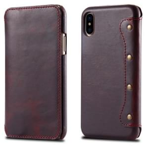 Oil Wax Top-grain Cowhide Horizontal Flip Leather Case for iPhone XS Max, with Card Slots & Wallet (Red)