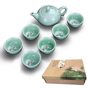 7 in 1 celadon keramische thee set Kung Fu pot infuus theepot 3D vis serveren kopje theekopje Chinese Drinkware met geschenkdoos