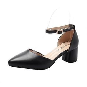 Simple Solid Color Thick Bottom Pointed Head Fashion Shoes for Women (Color:Black Size:37)