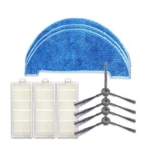 XI295 2 paar K614 zijborstels + 3 stuks K636 Rags + 3 stuks I207 filters voor ILIFE A4