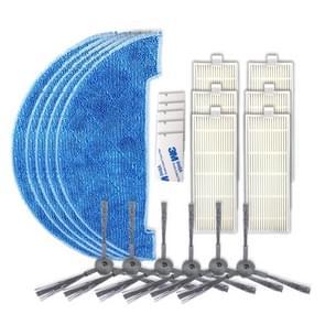 XI297 3 paar K614 zijborstels + 5 stuks K636 Rags + 6 stuks I207 filters + 5 stuks G604 magische zelfklevende stickers voor ILIFE A4