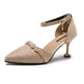Thin Heel Pointed Head Suede High Heels for Women (Color:Khaki Size:37)