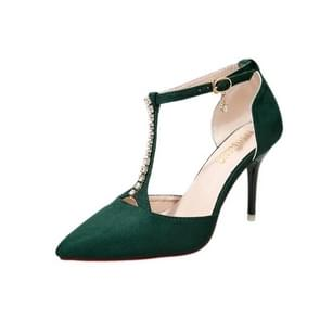 Suede Stiletto Pointed Head Fashion High Heels for Women (Color:Green Size:39)