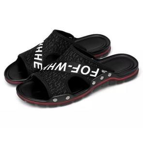 Flying weven comfortabel en ademend ultra-lichte casual slippers voor mannen (kleur: zwart wit grootte: 38)
