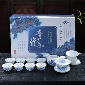 11 in 1 Kung Fu Tea Complete Set Blue And White Porcelain Cups Ceramic Cover Bowl Travel Teaware Set with 8 Tea Cups(Peony)