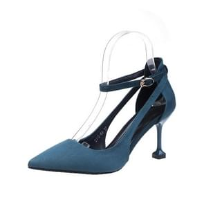 Fashion Stiletto High-heeled Pointed Head Suede Shoes for Women (Color:Navy Blue Size:35)