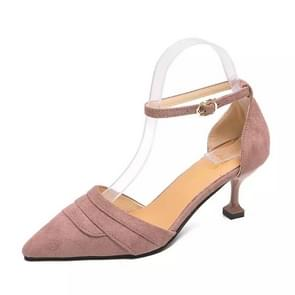 Simple and Stylish Wild Thin Heel Suede Shoes for Women (Color:Purple Size:39)