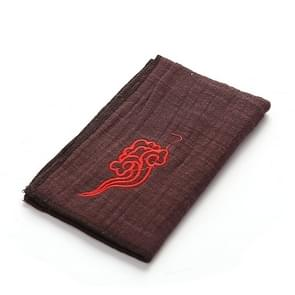 Retro Embroidery Kungfu Tea Set Thickened Cotton-linen Absorbent Rag(Coffee)