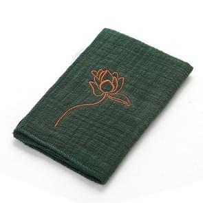 Retro Embroidery Kungfu Tea Set Thickened Cotton-linen Absorbent Rag(Green)