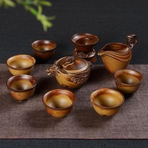 9 in 1 hout brandende Retro klassieke thee set thee set met high-end geschenkdoos & 6 kopjes