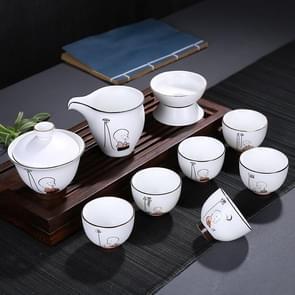 9 in 1 Ding Kiln Matte Glaze White Porcelain KungFu Tea Set Zen Tea Set Ceramic Teaware Set with Gift Box & 6 Cups(Six Degrees)