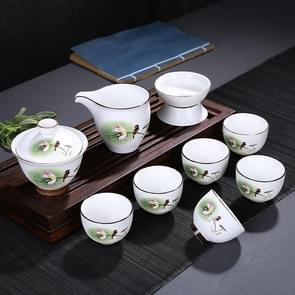9 in 1 Ding Kiln Matte Glaze White Porcelain KungFu Tea Set Zen Tea Set Ceramic Teaware Set with Gift Box & 6 Cups(Bird Flower)