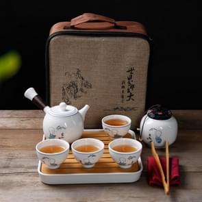 6 in 1 Japanse stijl keramiek set Kung Fu reizen thee set thee lade steengoed thee gift set 4 theekopjes (kennis)