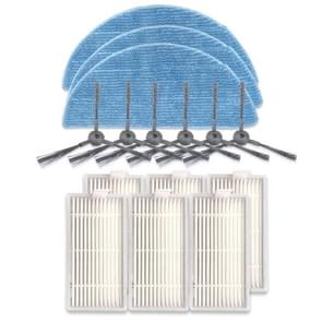 XI242 3 Pairs K614 Side Brushes + 6 PCS I208 Filters+ 3 PCS I201 Rags Set for ILIFE V5S Pro / V50 / V5S