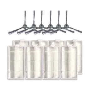 XI243 3 Pairs K614 Side Brushes + 8 PCS I208 Filters Set for ILIFE V5S Pro / V50 / V5S