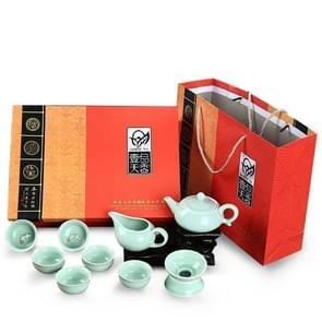 10 in 1 Celadon Ceramic Tea Set Kung Fu Pot Infuser Teapot 3D Fish Serving Cup Teacup Chinese Drinkware with Gift Box