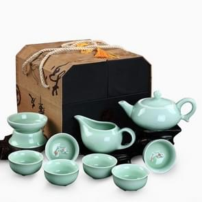 10 in 1 Celadon Ceramic Tea Set Kung Fu Pot Infuser Teapot 3D Fish Serving Cup Teacup Chinese Drinkware with Display Gift Box