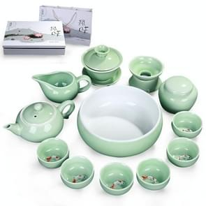 13 in 1 Celadon Ceramic Tea Bowl Set Kung Fu Pot Infuser Teapot 3D Fish Serving Cup Teacup Chinese Drinkware with Gift Box