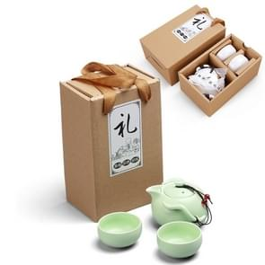 3 in 1 Celadon Ceramic Tea Set Penguin Kung Fu Teapot 1 Pot 2 Teacups Chinese Drinkware with Environmental Protection Gift Box (Green)