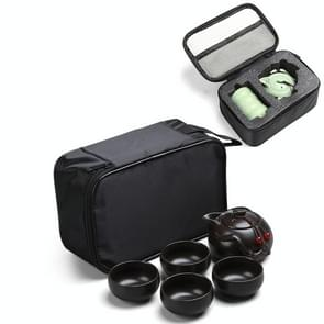 5 in 1 Celadon Ceramic Tea Set Penguin Kung Fu Teapot 1 Pot 4 Teacups Chinese Drinkware with Travel Gift Box (Black)