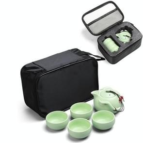 5 in 1 Celadon Ceramic Tea Set Penguin Kung Fu Teapot 1 Pot 4 Teacups Chinese Drinkware with Travel Gift Box (Green)