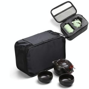 3 in 1 celadon keramische thee set Penguin Kung Fu theepot 1 pot 2 theekopjes Chinese Drinkware met reis geschenkdoos (zwart)