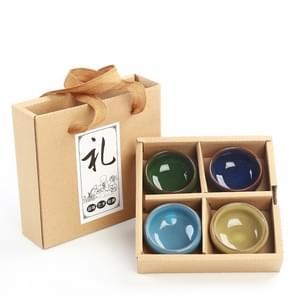 4 stuks Ice crack celadon keramische Kung Fu theekopje Chinese Drinkware set met geschenkdoos