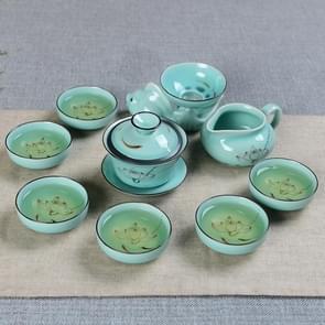 9 in 1 Celadon Ge Kiln Purple Sand Ceramics Complete Set Kung Fu Tea Set(Ceramic Cover Bowl)