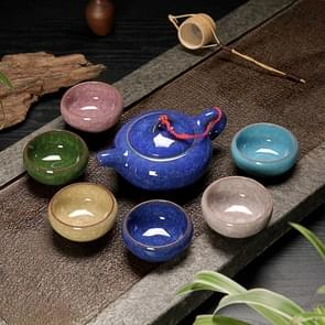 7 in 1 Ceramic Tea Set Ice Crack Glaze Kung Fu Teaware Set(Colorful Sapphire Blue)