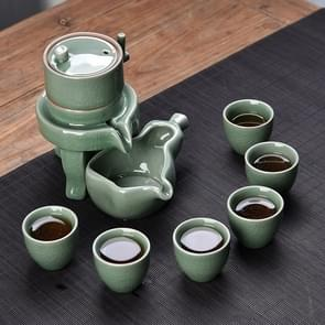 Retro Stone Grinding Creative Lazy Kung Fu Tea Ceramic Semi-automatic Teaware Set Business Gift Box(Ge Kiln Green)