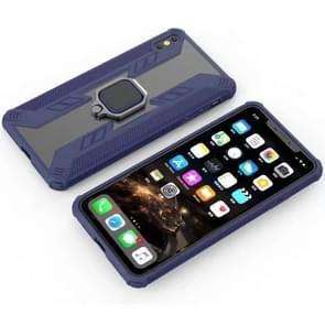 Iron Warrior schokbestendige PC + TPU beschermende case voor iPhone XS Max  met ring houder (donkerblauw)