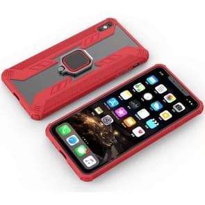 Iron Warrior schokbestendige PC + TPU beschermende case voor iPhone XS Max, met ring houder (rood)