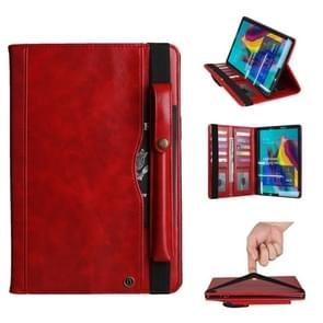 Crazy Horse Texture Horizontal Flip Leather Case for Galaxy Tab S 5E 10.5 / T720 / T725, with Double-row Card Slots & Pen Slot & Holder & Wallet(Red)