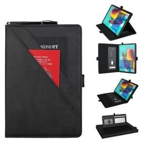 Horizontale Flip dubbele beugel lederen draagtas voor Galaxy tab S 5E 10 5/T720/T725  met kaartsleuven & fotolijstjes & pen sleuf (zwart)