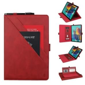 Horizontal Flip Double Bracket Leather Case for Galaxy Tab S 5E 10.5 / T720 / T725, with Card Slots & Photo Frame & Pen Slot(Red)